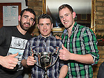 Leon Madden, David Smith and Loke O'Sullivan pictured at the Emmett Lynch Memorial Cup presentation night in Daly's Donore. Photo:Colin Bell/pressphotos.ie