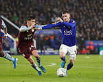 James Maddison of Leicester City tackled by Frederic Guilbert of Aston Villa during the Carabao Cup match at the King Power Stadium, Leicester. Picture date: 8th January 2020. Picture credit should read: Darren Staples/Sportimage