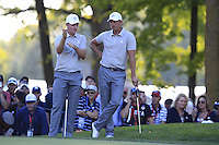 Justin Rose &amp; Henrik Stenson (Team Europe) on the 12th during Saturday afternoon Fourball at the Ryder Cup, Hazeltine National Golf Club, Chaska, Minnesota, USA.  01/10/2016<br /> Picture: Golffile | Fran Caffrey<br /> <br /> <br /> All photo usage must carry mandatory copyright credit (&copy; Golffile | Fran Caffrey)