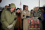 Long time activists and respected members of the environmental community risk arrest by shuting down one of the gates of the Capitol Coal Plant. (l-r) Wendell Barry, Terry Tempest Williams, Bill McKibben, James Hansen. On March 2, 2009, thousands of protestors marched on the Capitol Coal Plant in Washington, D.C. The protestors were calling for clean renewable energy future. Two days before the planned protest, the US government announced that the plant would be converted to Natural Gas. Organizers cited this news as a partial, but incomplete victory - as Natural Gas is still a fossil fuel - and vowed to take on coal plants across the country.  (©Robert vanWaarden).