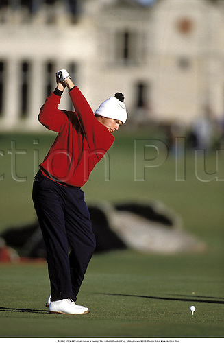 PAYNE STEWART (USA) takes a swing, The Alfred  Dunhill Cup, St Andrews, 9310. Photo: Glyn Kirk/Action Plus.......1993..golf..bobble hat..golfer golfers..rear..backshot..behind