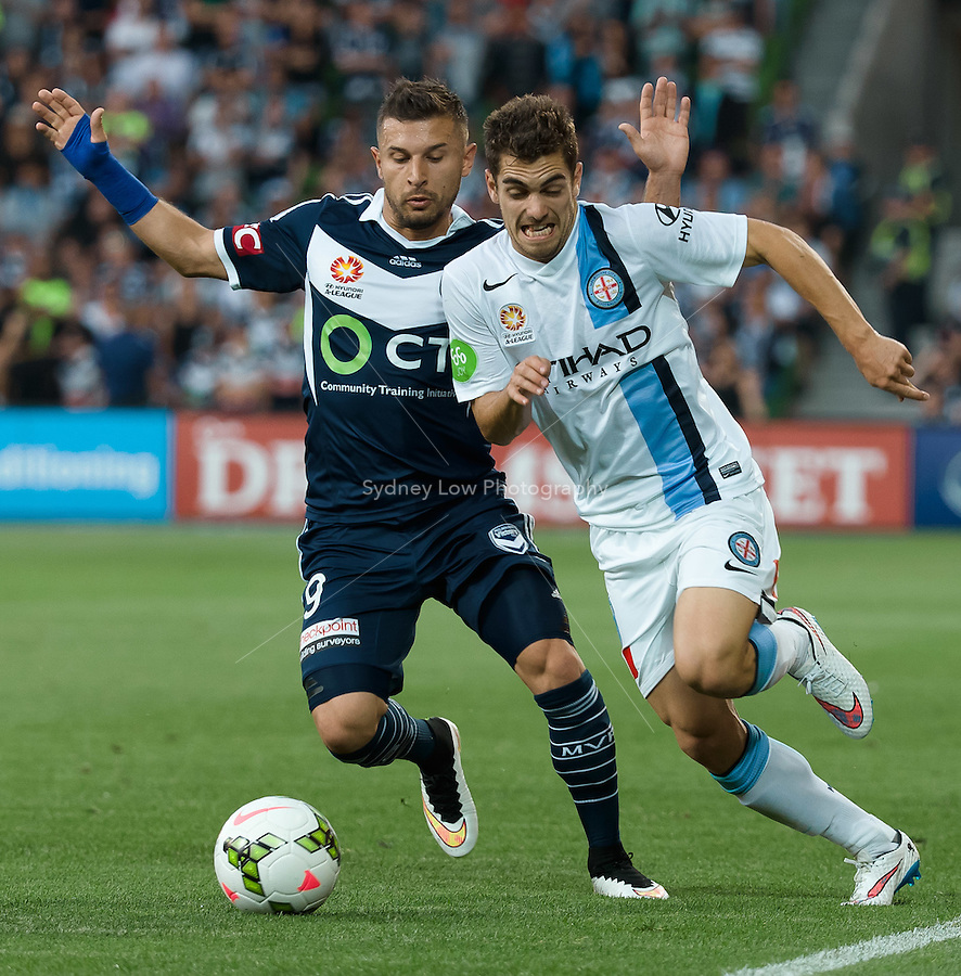 Benjamin GARUCCIO of Melbourne City runs with the ball in round 11 A-League match between Melbourne City and Melbourne Victory at AAMI Park in Melbourne, Australia during the 2014/2015 Australian A-League season. City def Victory 1-0