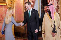 King Felipe VI of Spain before lunch in honor of Arabia Saudi heir prince, Mohámed bin Salmán at Royal Palace in Madrid, Spain. April 12, 2018. (ALTERPHOTOS/Borja B.Hojas) /NortePhoto.com