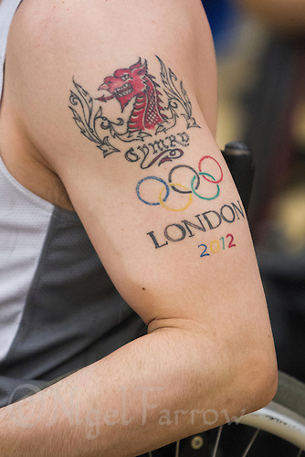 27 MAY 2013 - DONCASTER, GBR - David Anthony of the South Wales Pirates sports a tattoo celebrating his inclusion in the London 2012 Paralympics Great Britain Wheelchair Rugby team during the  2013 Great Britain Wheelchair Rugby Nationals bronze medal match at The Dome in Doncaster, South Yorkshire .(PHOTO (C) 2013 NIGEL FARROW)