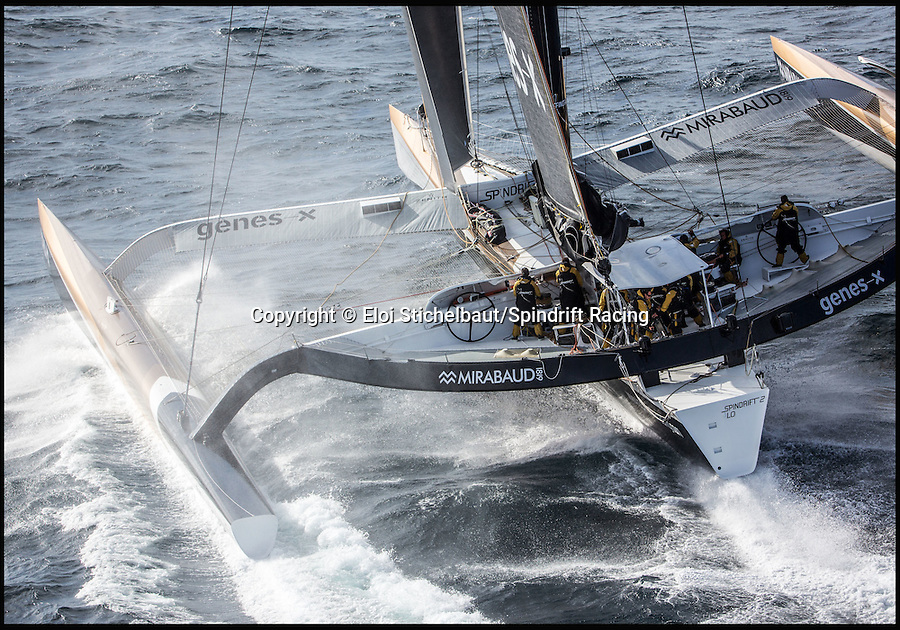 BNPS.co.uk (01202 558833)<br /> Pic: EloiStichelbaut/BNPS<br /> <br /> The wind-powered yachts, which can hit a blisteringly quick 40 knots (46mph).<br /> <br /> Iconic British cruise liner RMS Queen Mary 2 is to race a fleet of the planet's fastest yachts across the Atlantic to celebrate the arrival of American troops in France in the First World War.<br /> <br /> The world's only transatlantic ocean liner will take on some of the biggest names in offshore sailing in the 3,000-mile sprint from Brittany in France to New York, billed as the ultimate showdown between power and sail.<br /> <br /> Cunard's Southampton-based flagship vessel will aim to beat the four 100ft-plus trimaran boats each sailed by French yachtsmen Thomas Coville, Francois Gabart, Yves Le Blevec and Yann Guichard.
