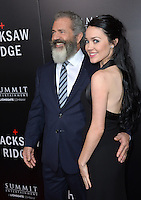 LOS ANGELES, CA. October 24, 2016: Director Mel Gibson &amp; girlfriend Rosalind Ross at the Los Angeles premiere of &quot;Hacksaw Ridge&quot; at The Academy's Samuel Goldwyn Theatre, Beverly Hills.<br /> Picture: Paul Smith/Featureflash/SilverHub 0208 004 5359/ 07711 972644 Editors@silverhubmedia.com