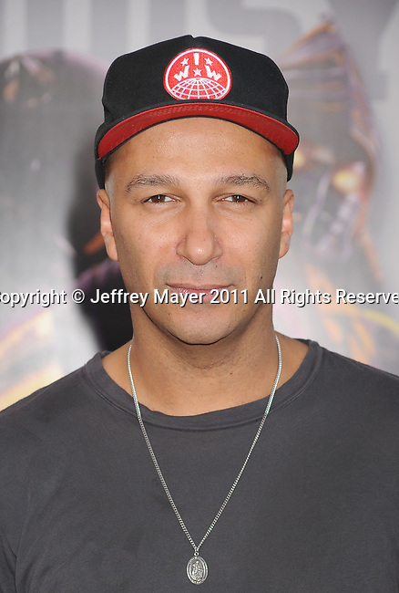 "UNIVERSAL CITY, CA - OCTOBER 02: Tom Morello attends the ""Real Steel"" Los Angeles Premiere at Gibson Amphitheatre on October 2, 2011 in Universal City, California."