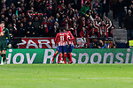 Atletico de Madrid's players celebrate goal during UEFA Champions League match between Atletico de Madrid and AS Monaco at Wanda Metropolitano Stadium in Madrid, Spain. November 28, 2018. (ALTERPHOTOS/A. Perez Meca)