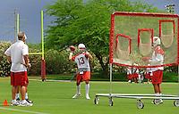 May 20, 2009; Tempe, AZ, USA; Arizona Cardinals quarterback Kurt Warner throws passes during organized team activities at the Cardinals practice facility. Mandatory Credit: Mark J. Rebilas-