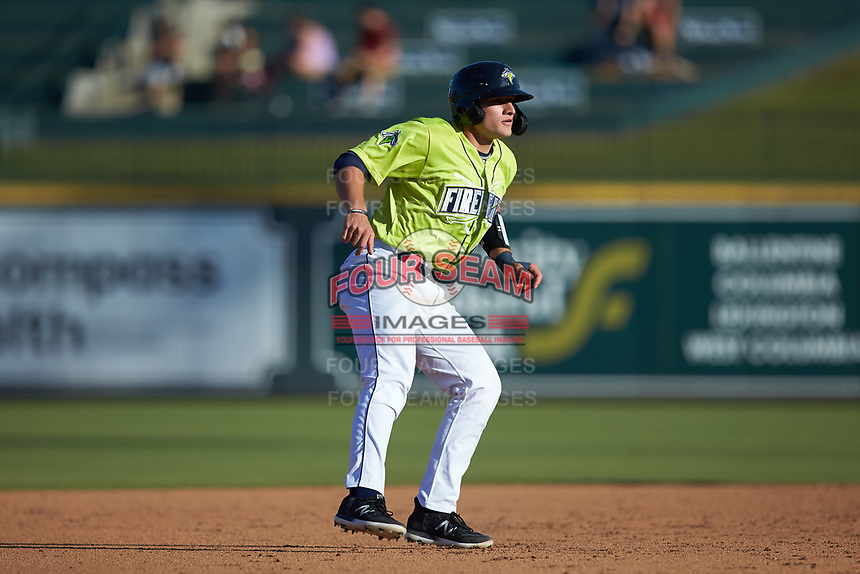 Hayden Senger (15) of the Columbia Fireflies takes his lead off of second base against the Rome Braves at Segra Park on May 13, 2019 in Columbia, South Carolina. The Fireflies walked-off the Braves 2-1 in game one of a doubleheader. (Brian Westerholt/Four Seam Images)