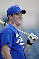 Mark Sweeney of the Kansas City Royals before a 2002 MLB season game against the Los Angeles Angels at Angel Stadium, in Anaheim, California. (Larry Goren/Four Seam Images)