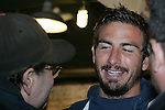 20 November 2009: Alan Gordon (right). Major League Soccer players Alan Gordon of the Los Angeles Galaxy and Chris Seitz of Real Salt Lake took part in a fish toss at Pike Place Market in Seattle, WA as part of the Major League Soccer MLS Cup weekend activities.