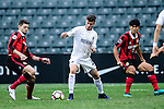 Auckland City Midfielder Fabrizio Tavano (c) is chased by FC Seoul Midfielder Osmar Barba (l) during the 2017 Lunar New Year Cup match between Auckland City FC (NZL) and FC Seoul ((KOR) on January 28, 2017 in Hong Kong, Hong Kong. Photo by Marcio Rodrigo Machado/Power Sport Images