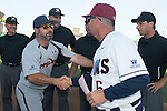 May 24, 2014; Stockton, CA, USA; Pepperdine Waves head coach Steve Rodriguez (left) and Loyola Marymount Lions head coach Jason Gill (Right) during the WCC Baseball Championship at Banner Island Ballpark.