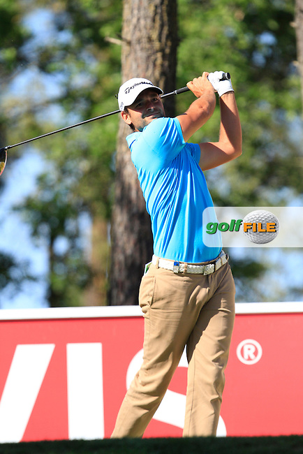 Carlos Del Moral (ESP) on the 3rd tee during Thursday's Round 1 of The Open De Espana at The PGA Catalunya Resort. 15th May 2014.<br /> Picture:  Thos Caffrey / www.golffile.ie