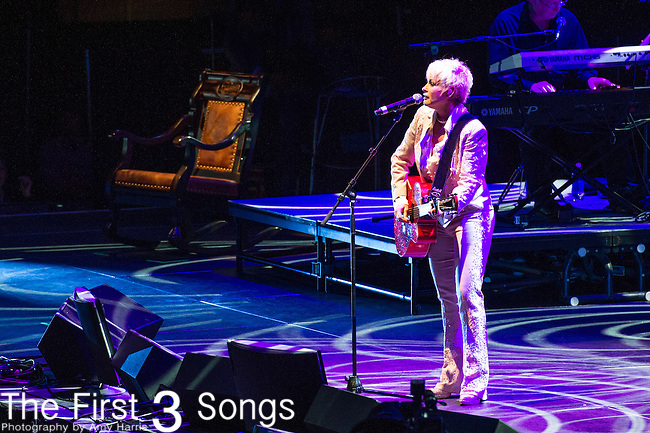 "Lorrie Morgan performs at the George Jones Tribute Concert ""Playin' Possum: The Final No Show"" at Bridgestone Arena in Nashville, TN"