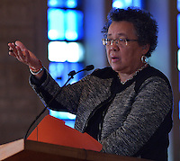 Dr. Barbara Dianne Savage, Geraldine R. Segal Professor of American Social Thought and Professor of History at the University of Pennsylvania speaks at the  Louisville Presbyterian Theological Seminary Black Church Studies, 30th Anniversary of the Louisville Grawemeyer Awards.