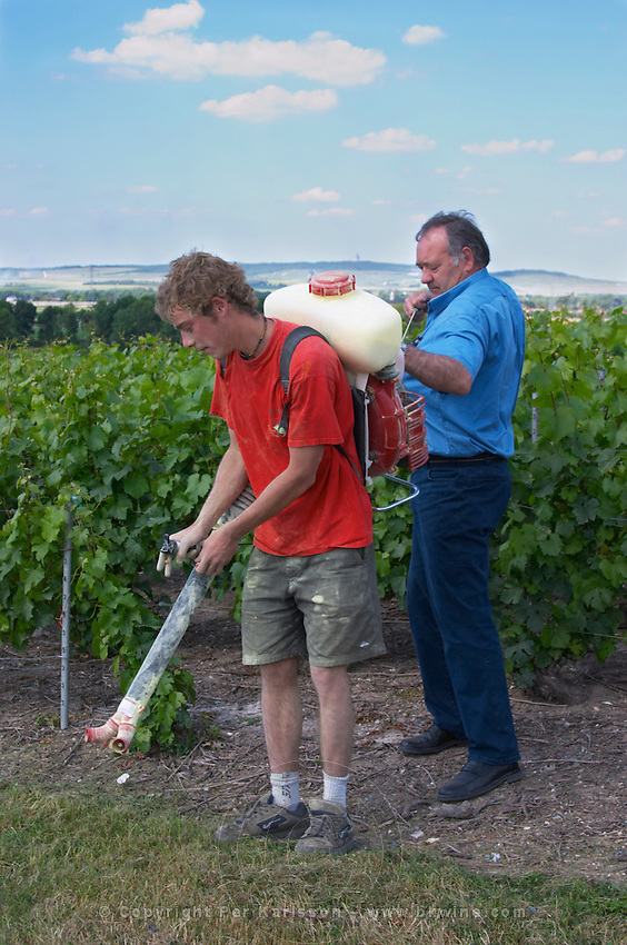 Francois Seconde and his son who is carrying a sulphur spraying machine on his back to treat spray the vines i to protect them from maladies diseases in the vineyard Francois helping his son to start the machine Champagne Francois Seconde, Sillery Grand Cru, Montagne de Reims, Champagne, Marne, Ardennes, France