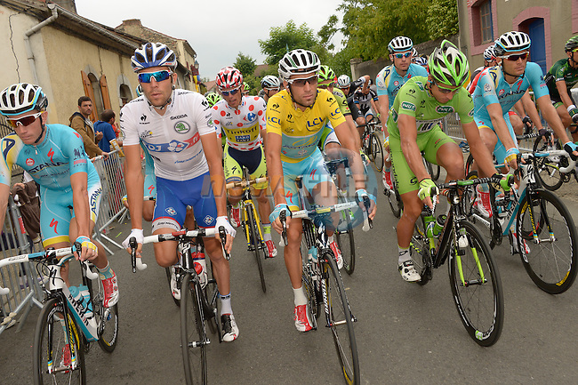 L-R White Jersey Thibaut Pinot (FRA) FDJ.FR, Polka Dot Jersey Rafal Majka (POL) Tinkoff-Saxo, Yellow Jersey Vincenzo Nibali (ITA) Astana, and Peter Sagan (SVK) Cannondale at the start of Stage 19 of the 2014 Tour de France running 208.5km from Maubourguet Val d'Adour to Bergerac. 25th July 2014.<br /> Photo ASO/B.Bade/www.newsfile.ie