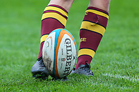 Players warm up ahead of the Greene King IPA Championship match between Ampthill RUFC and Nottingham Rugby on Ampthill Rugby's Championship Debut at Dillingham Park, Woburn St, Ampthill, Bedford MK45 2HX, United Kingdom on 12 October 2019. Photo by David Horn.