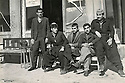 Iraq 1967 <br /> Mullazem Omar Abdallah, 3rd from left with friends in front a cafe in Suleimania  <br /> Irak 1967 <br /> Mullazem Omar Abdallah avec des amis assis devant un cafe a Suleimania