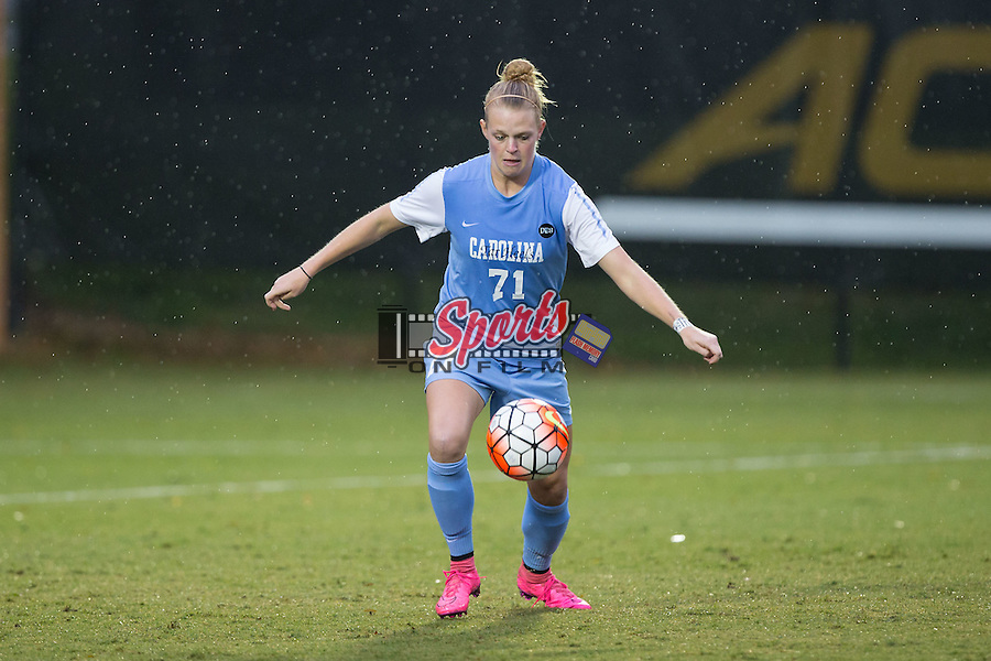 Hanna Gardner (71) of the North Carolina Tar Heels during second half action against the Wake Forest Demon Deacons at Spry Soccer Stadium on September 27, 2015 in Winston-Salem, North Carolina.  The Tar Heels defeated the Demon Deacons 1-0.  (Brian Westerholt/Sports On Film)