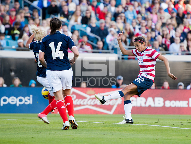 Christen Press, Rhonda Jones, Leanne Crichton.  The USWNT defeated Scotland, 4-1, during a friendly at EverBank Field in Jacksonville, Florida.