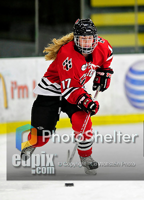 30 October 2009: Northeastern University Huskies' defenseman Ginny Berg, a Senior from Sterling, Alaska, in action against the University of Vermont Catamounts at Gutterson Fieldhouse in Burlington, Vermont. The Catamounts were shut out by the visiting Huskies 3-0. Mandatory Credit: Ed Wolfstein Photo