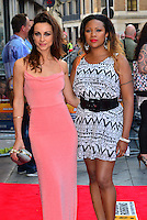 Celena Cherry, Mariama Goodman<br /> The &quot;Bula Quo!&quot; UK film premiere, Odeon West End cinema, Leicester Square, London, England.<br /> July 1st, 2013<br /> full length black white pink dress pattern belt half 3/4<br /> CAP/BF<br /> &copy;Bob Fidgeon/Capital Pictures