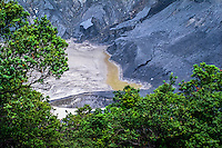 Indonesia, Java, Parompong. Tangkuban Prahu volcano. Kawah Ratu, the largest crater. A small lake at the bottom of the crater.