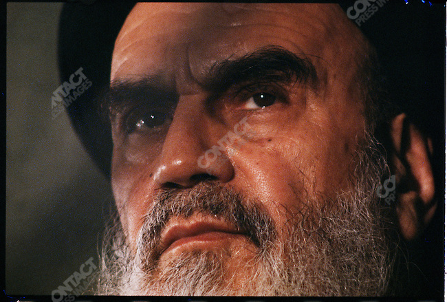 Ayatollah Khomeini during a press conference at the Refah School. Tehran, February 2, 1979