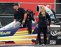 Feb 10, 2017; Pomona, CA, USA; NHRA top alcohol dragster driver James Day and girlfriend Eily Stafford during qualifying for the Winternationals at Auto Club Raceway at Pomona. Mandatory Credit: Mark J. Rebilas-USA TODAY Sports