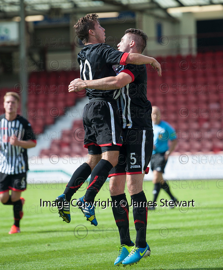 Pars' Callum Morris celebrates with Josh Falkingham (10) after he scores their first goal.
