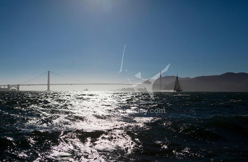 L'Hydroptère DCNS, Alain Thébault and his crew sailing in San Francisco, California, USA.