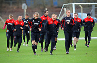 Pictured: Besian Idrizaj (L) and Alan Tate (R). Thursday 01 April 2010<br /> Re: Swansea City Football Club training at Llandarcy near near Swansea south Wales ahead of their clash against Cardiff on Saturday.