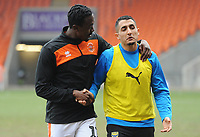 Blackpool's Joe Dodoo and Oxford United's Ahmed Kashi<br /> during the pre-match warm-up <br /> <br /> Photographer Kevin Barnes/CameraSport<br /> <br /> The EFL Sky Bet League One - Blackpool v Oxford United - Saturday 23rd February 2019 - Bloomfield Road - Blackpool<br /> <br /> World Copyright © 2019 CameraSport. All rights reserved. 43 Linden Ave. Countesthorpe. Leicester. England. LE8 5PG - Tel: +44 (0) 116 277 4147 - admin@camerasport.com - www.camerasport.com