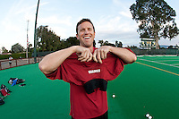 STANFORD CA - September 23, 2011: Assistant Coach Steve Danielson gets ready for the Stanford vs Cal at vs Lehigh field hockey game at the Varsity Field Hockey Turf Friday night at Stanford.<br /> <br /> The Cardinal team defeated the Golden Bears 3-2.
