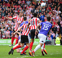 Lincoln City's Matt Rhead sees his header hit the crossbar<br /> <br /> Photographer Andrew Vaughan/CameraSport<br /> <br /> The EFL Sky Bet League Two Play Off First Leg - Lincoln City v Exeter City - Saturday 12th May 2018 - Sincil Bank - Lincoln<br /> <br /> World Copyright &copy; 2018 CameraSport. All rights reserved. 43 Linden Ave. Countesthorpe. Leicester. England. LE8 5PG - Tel: +44 (0) 116 277 4147 - admin@camerasport.com - www.camerasport.com
