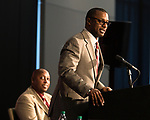 Athletic director Stan Wilcox looks on as Florida State University introduces Willie Taggart as their new NCAA college football coach in Tallahassee, Fla., Wed, Dec. 6, 2017. (AP Photo/Mark Wallheiser)