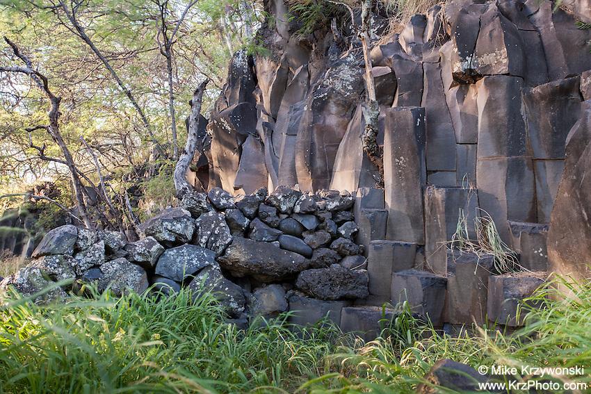 Rock wall at the petroglyph site near Nu'u Bay, Kaupo, Maui