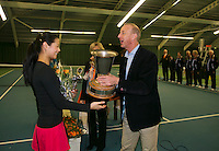 Rotterdam, The Netherlands, 15.03.2014. NOJK 14 and 18 years ,National Indoor Juniors Championships of 2014, Trophy giving on court, winner  girls 18 years Arianne Hartono<br /> Photo:Tennisimages/Henk Koster