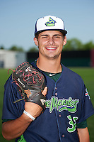 Vermont Lake Monsters pitcher Dalton Sawyer (37) poses for a photo before a game against the Auburn Doubledays on July 13, 2016 at Falcon Park in Auburn, New York.  Auburn defeated Vermont 8-4.  (Mike Janes/Four Seam Images)