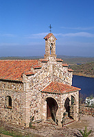 A STONE CHURCH above ORELLANA RESEVOIR - SPAIN.