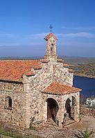 A STONE CHURCH above ORELLANA RESEVOIR - SPAIN.