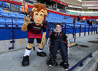 Bolton Wanderers' mascot, Lofty, with young supporter<br /> <br /> Photographer Andrew Kearns/CameraSport<br /> <br /> The EFL Sky Bet Championship - Bolton Wanderers v Blackburn Rovers - Saturday 6th October 2018 - University of Bolton Stadium - Bolton<br /> <br /> World Copyright © 2018 CameraSport. All rights reserved. 43 Linden Ave. Countesthorpe. Leicester. England. LE8 5PG - Tel: +44 (0) 116 277 4147 - admin@camerasport.com - www.camerasport.com