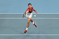11th January 2020; Sydney Olympic Park Tennis Centre, Sydney, New South Wales, Australia; ATP Cup Australia, Sydney, Day 9; Serbia versus Russia;  Novak Djokovic versus Daniil Medvedev; Novak Djokovic of Serbia misses a volley in midcourt during his match against Daniil Medvedev of Russia - Editorial Use