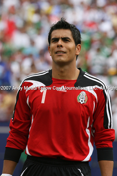 10 June 2007: Mexico's Oswaldo Sanchez. The Honduras Men's National Team defeated the National Team of Mexico 2-1 at Giants Stadium in East Rutherford, New Jersey in a first round game in the 2007 CONCACAF Gold Cup.