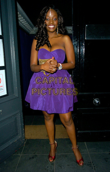 MAKOSI MUSAMBASI.The MOBO Awards launch at MO*VIDA, London, England. .August 22nd, 2007 .movida full length purple strapless dress red shoes hair jewel.CAP/CAN.©Can Nguyen/Capital Pictures
