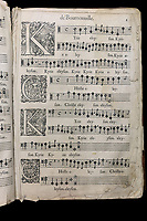Page from the only known copy of music by Valentin de Bournonville, 1610-63, composer and organist at the Cathedral of Notre Dame in Paris, from the Archives of the Quebec Seminary, in the Musee de la Civilisation, or Museum of Civilisation, Quebec City, Quebec, Canada. The Historic District of Old Quebec is listed as a UNESCO World Heritage Site. Picture by Manuel Cohen