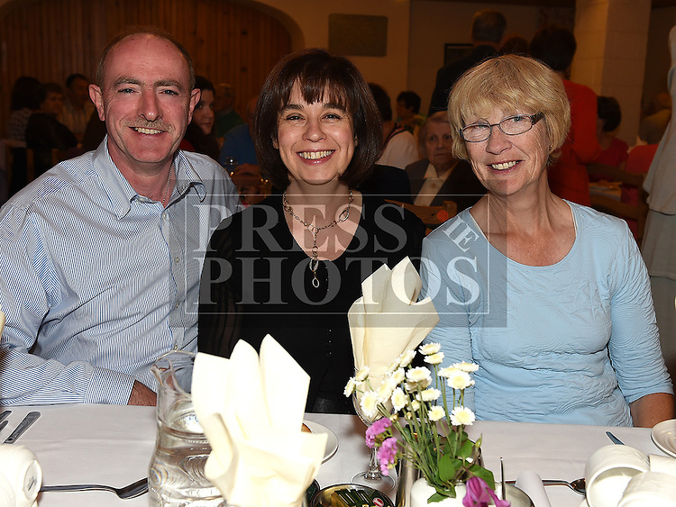 Jerome and Ann McEvoy and Elizabeth Spicer pictured at the Daughters of charity dinner in An Grianan. Photo:Colin Bell/pressphotos.ie